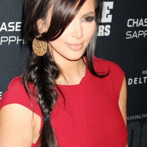 Kim Kardashian Sexy Side Braid