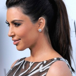 Kim Kardashian Simple Easy Ponytail Hairstyle