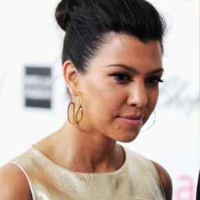 Kourtney Kardashian Casual Loose Bun Updo Hair Style