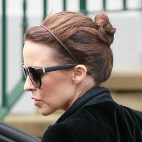 Kylie Minogue Casual Bun Updo Hairstyle