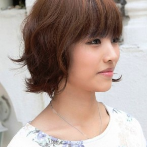 Layered Short Brown Bob Hairstyle With Bangs