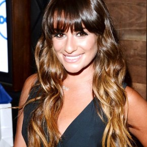 Lea Michele Long Brown Wavy Hairstyle With Bangs