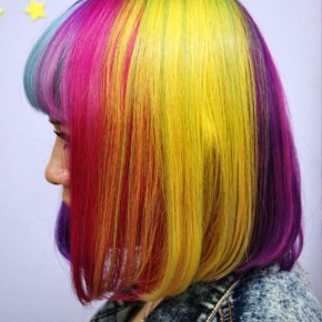 Left Side View Of Asian Short Rainbow Bob Hairstyle