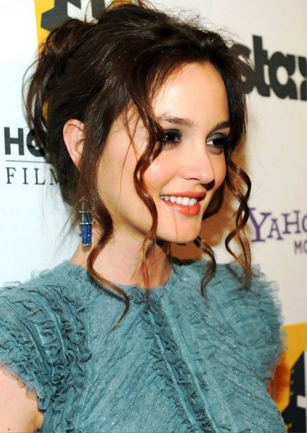 Leighton Meester Sexy Loose Bun Updo With Long Curls