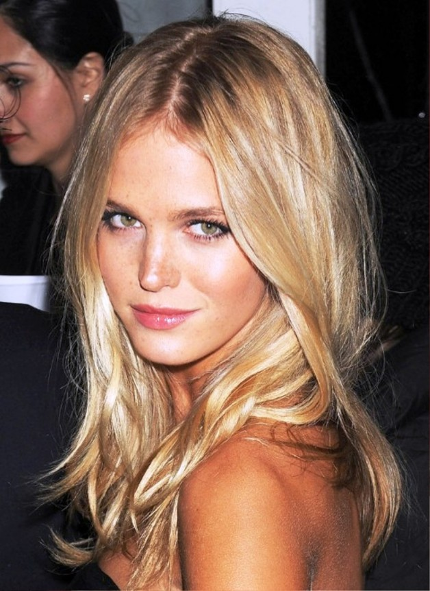 Long Blonde Center Part Hairstyle