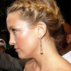 Loose French Braided Updo Hairstyle