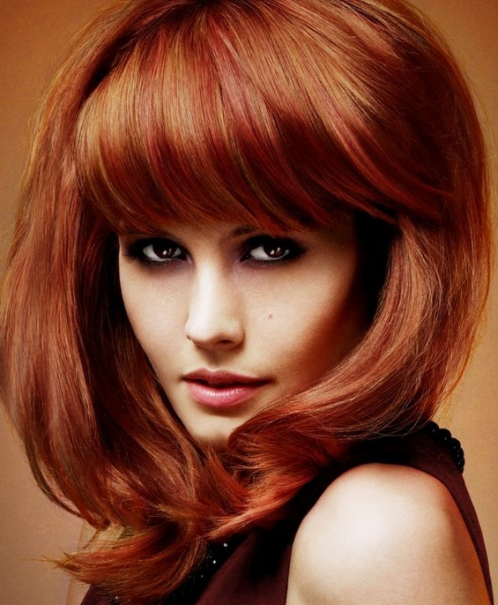 Fine Pictures Of Medium Length Hairstyles For Thick Hair With Bangs Short Hairstyles Gunalazisus