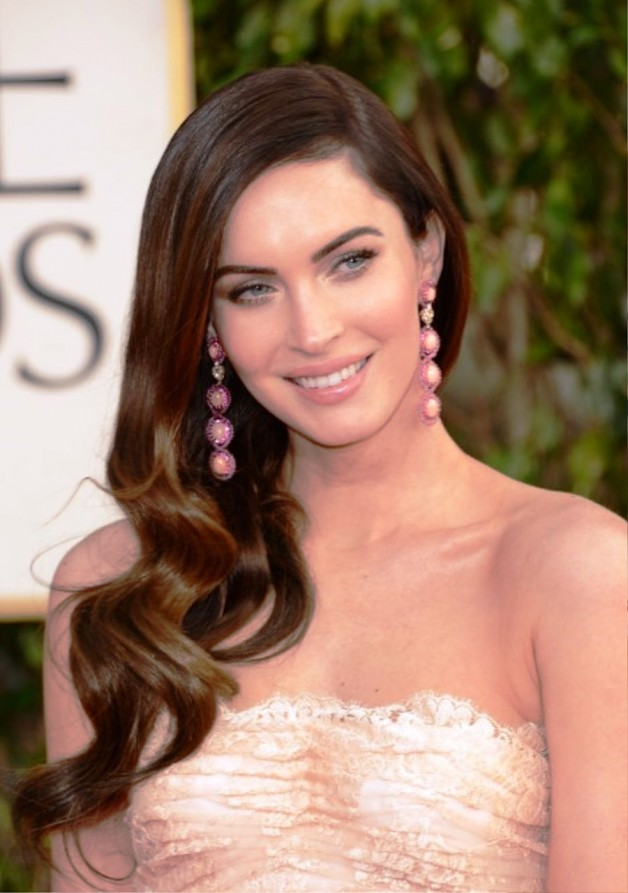 Megan Fox Sleek Sharp Side Parted Wavy Hairstyle