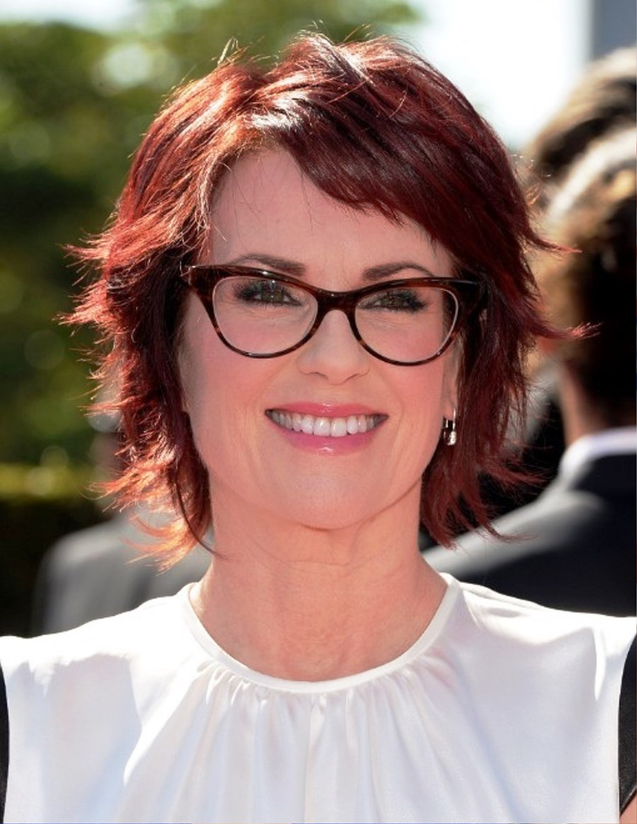 Pictures Of Megan Mullally Short Red Razor Haircut With Layers - Razor haircut