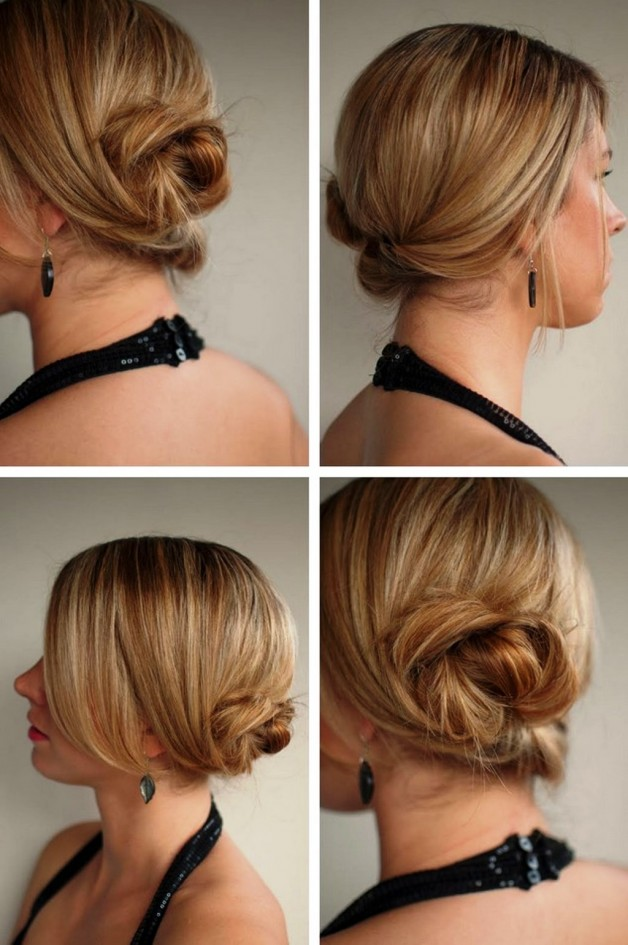 Messy Low Twisted Chignon Updo