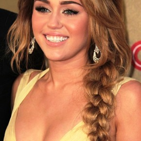 Miley Cyrus Long Braided Hairstyle Side Braid