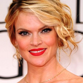 Missi Pyle Messy Updo Hairstyle With Side Bangs