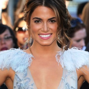 Nikki Reed Center Parted Messy Bun Updo