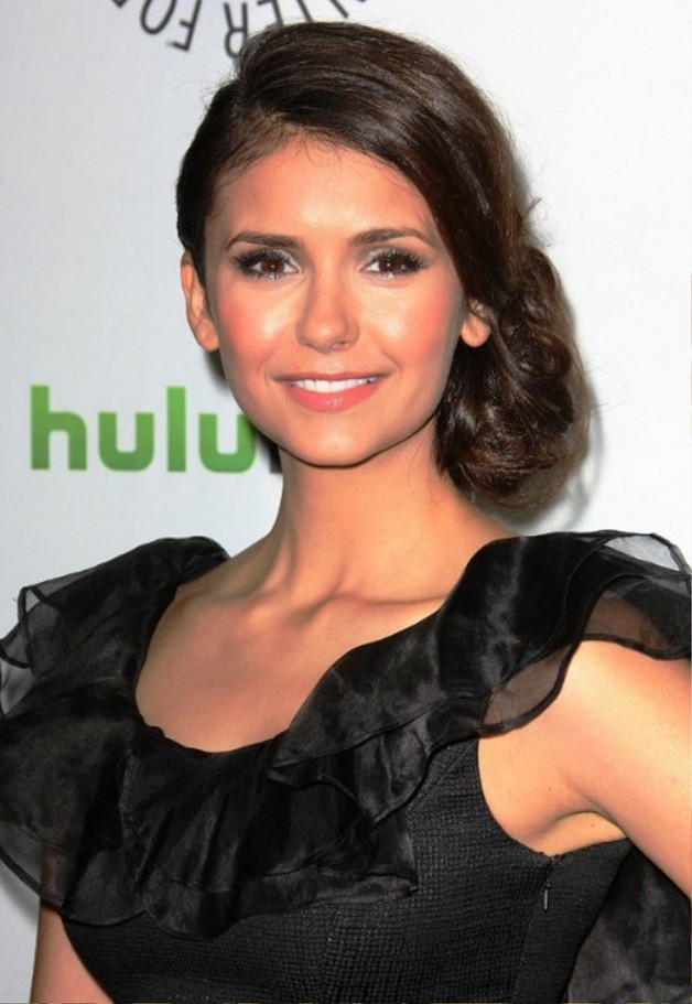 Nina Dobrev Bobby Pinned Low Side Bun Updo