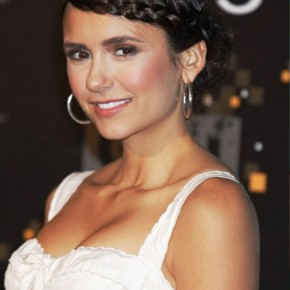 Nina Dobrev Sweet Braided Updo For Prom