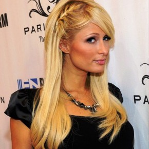 Paris Hilton Cute Braided Hairsyle With Side Bangs
