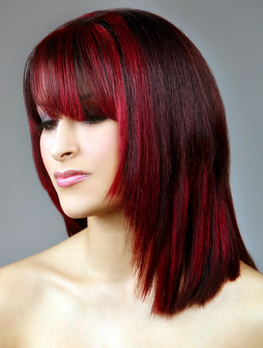 Red And Black Hairstyles For Women Pictures