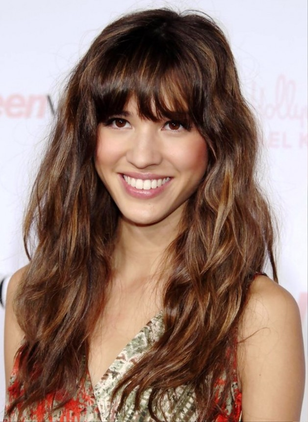 Relaxed Long Curly Hairstyle With Bangs
