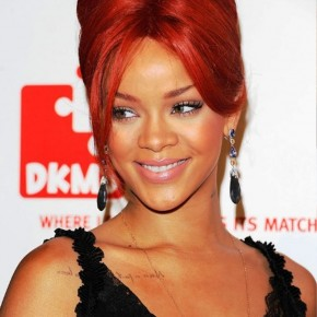 Rihanna Formal Red Updo