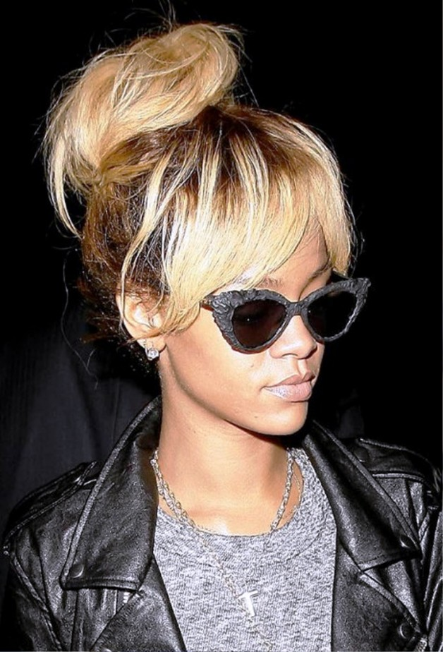 Rihanna High Bun Updo Hairstyle