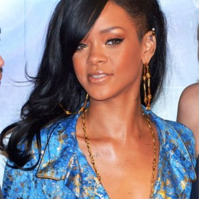 Rihanna Layered Long Black Hairstyle