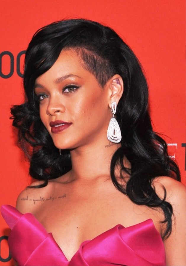 Rihanna Long Black Curly Hairstyle
