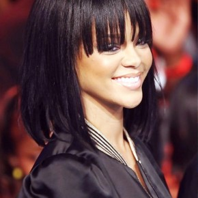 Rihanna Long Straight Bob Hairstyle For Girls