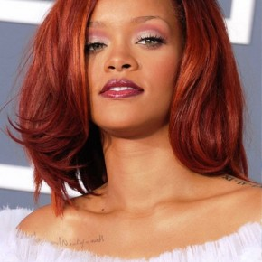 Rihanna Medium Cherry Red Hairstyle