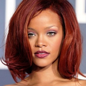 Rihanna Medium Red Bob Hairstyles