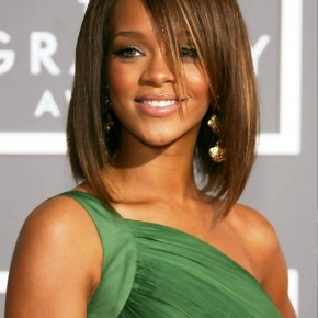 Rihanna Medium Straight Bob Hairstyle With Bangs
