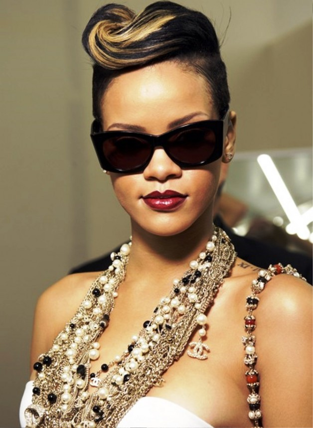 Rihanna Pompadour Updo Hairstyle