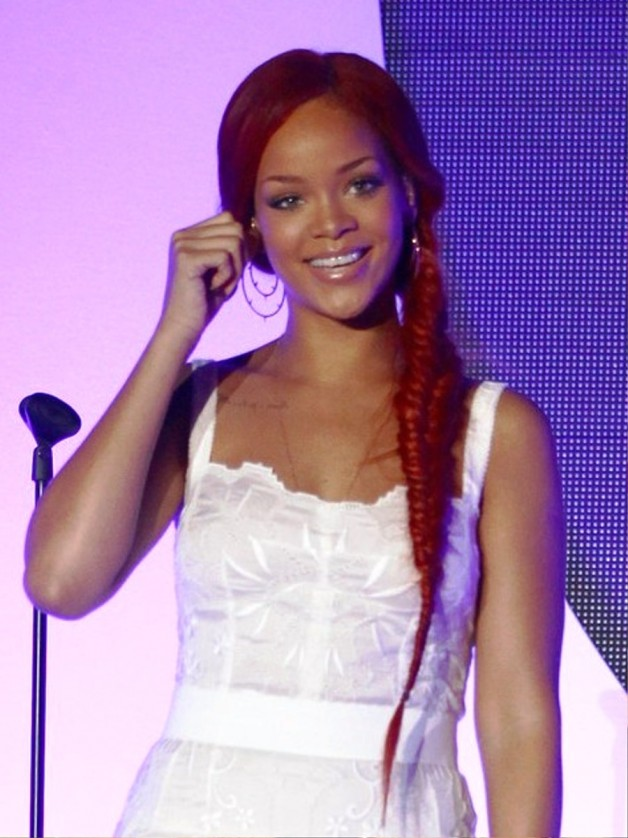 Rihanna Red Braided Hairstyle
