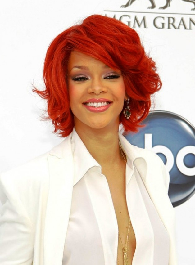 rihanna red curly bob hairstyle behairstylescom