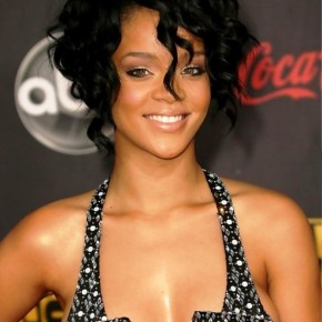 Rihanna Short Black Curly Bob Haircut