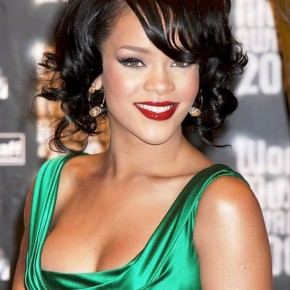 Rihanna Short Curly Bob Hairstyle