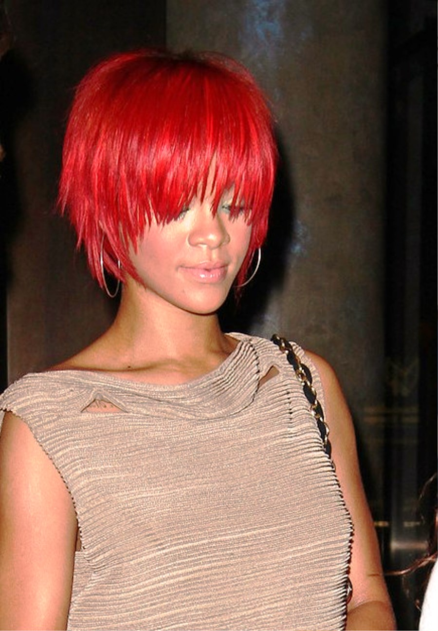 Rihanna Short Red Hairstyles Pictures