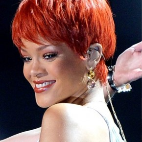 Rihanna Short Red Pixie Haircut