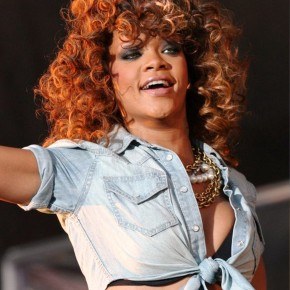 Rihanna Shoulder Length Curly Hairstyles