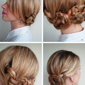 Romantic Twisted Braided Updo With Bangs