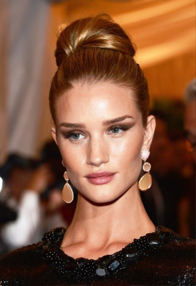 Rosie Huntington Whiteley Bun Updo Hairstyle