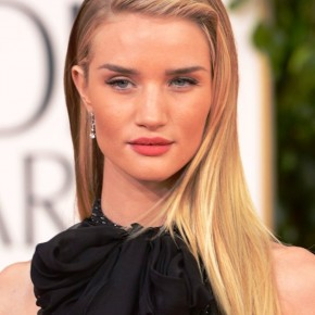 Rosie Huntington Whiteley Deep Side Parted Long Blonde Hairstyle 2013