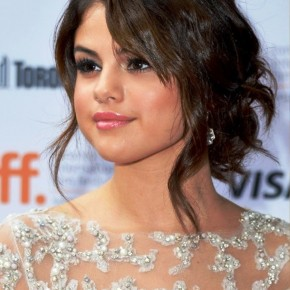 Selena Gomez Latest Updo Hairstyle With Side Bangs