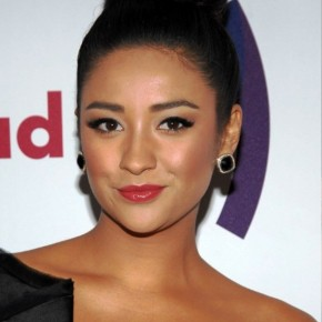 Shay Mitchell Elegant High Black Bun Updo