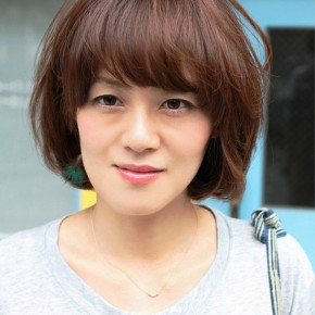 Short Asian Brown Hairstyle With Bangs