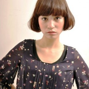 Short Japanese Hairstyle With Blunt Bangs