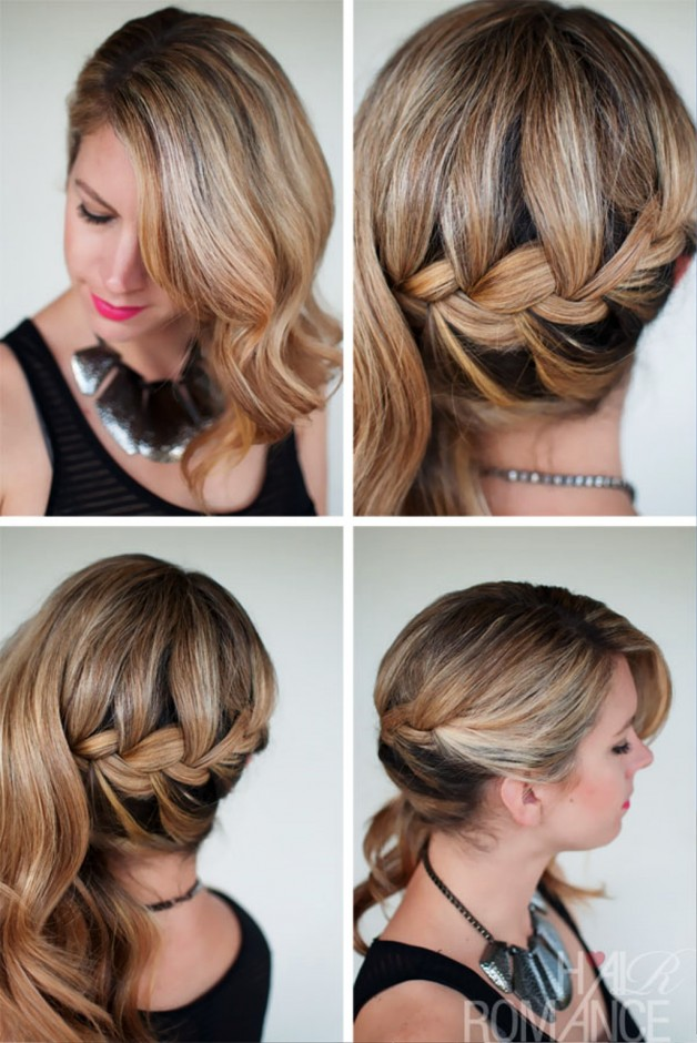 Peachy Side Swept French Braid Hairstyle For Wedding Behairstyles Com Short Hairstyles For Black Women Fulllsitofus