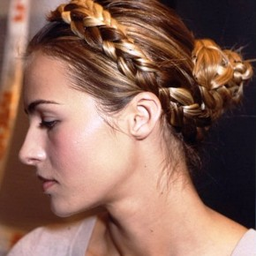Side View Of Milkmaid Braids