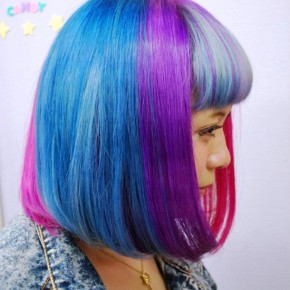 Side View Of Short Rainbow Bob Hairstyle
