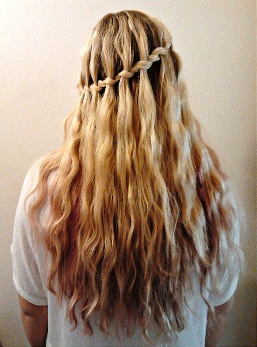 Pictures Of Stylish Waterfall Braid Hairstyle