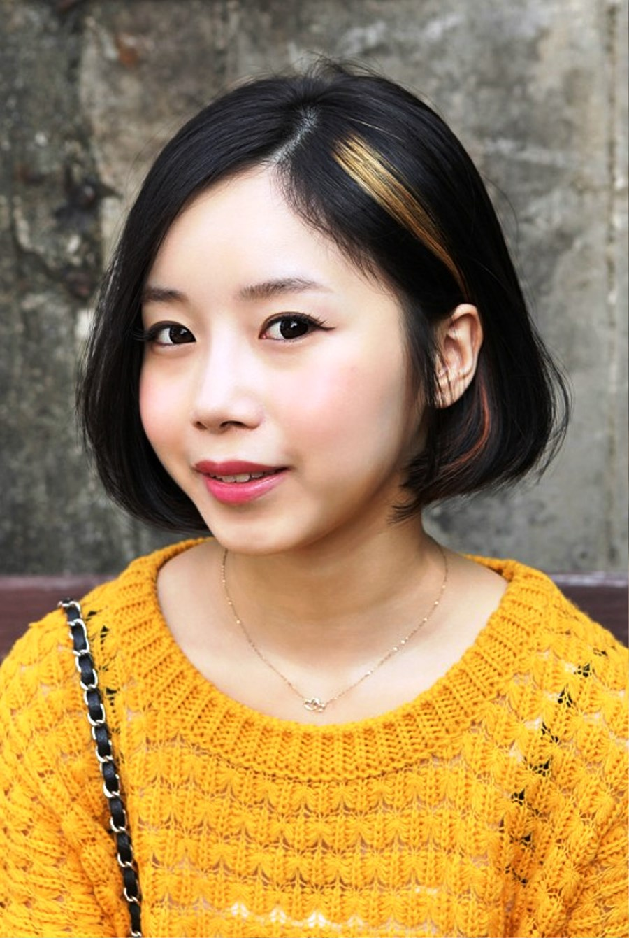 Pictures of Sweet Asian A Line Bob Hairstyle For Girls